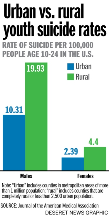 urban vs rural suicides